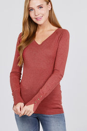 Long Sleeve V_neck Sweater Top