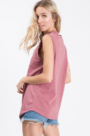 Laser Cut Sleeveless Top