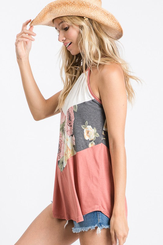 Floral Color Block Sleeveless Top