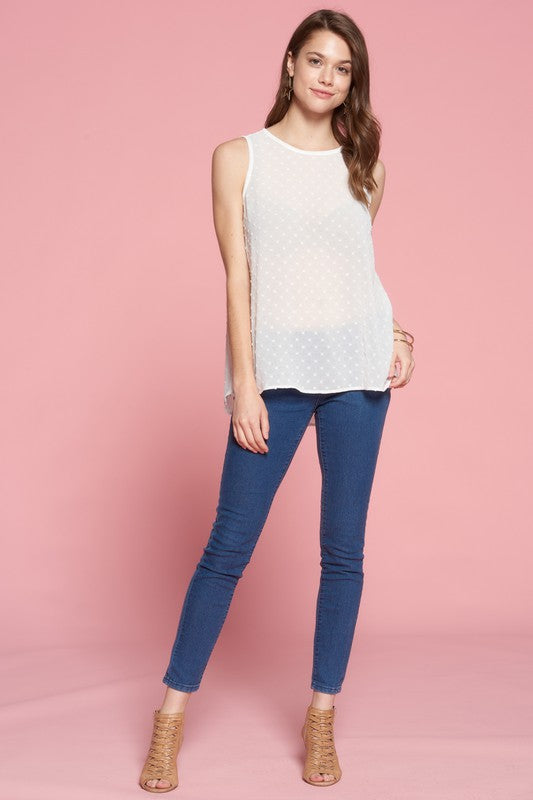 Swiss dot textured tank top