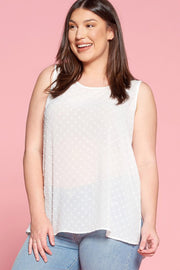Swiss Dot Textured Tank Top - Curvy
