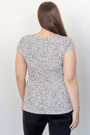 Abstract Dot V Neck Top