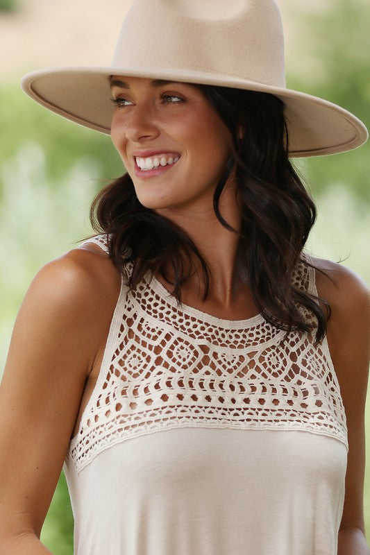 Crochet Lace Front Sleeveless Top