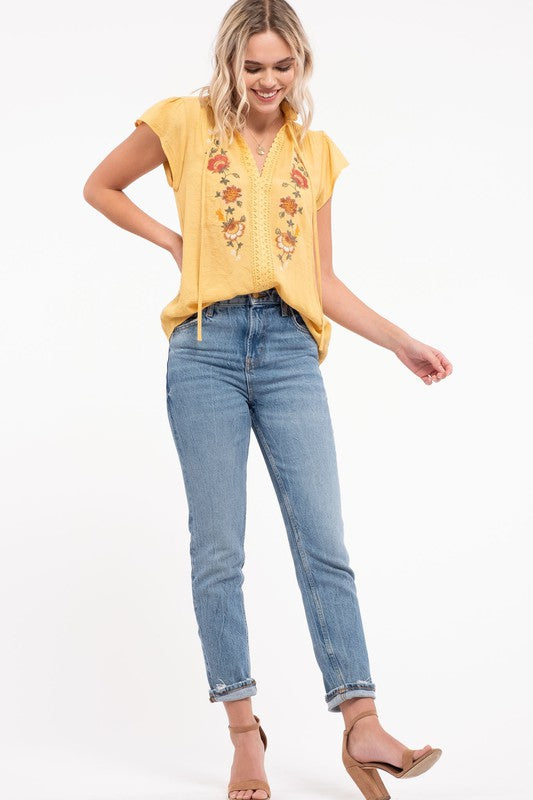 Embroidered Flounce Top