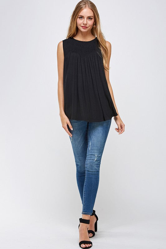 Sleeveless Solid Flare Top with Smock Chest