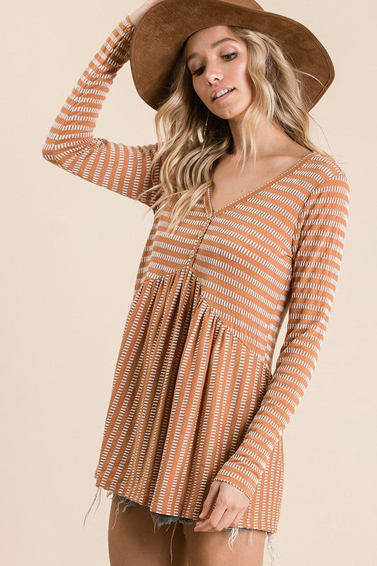 Two tone stripe print knit babydoll top