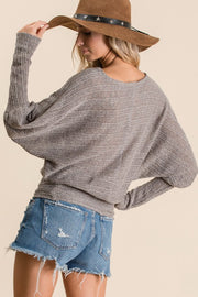 Solid stretch knit fabric casual top