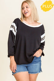 French Terry Boat Neck Casual Top