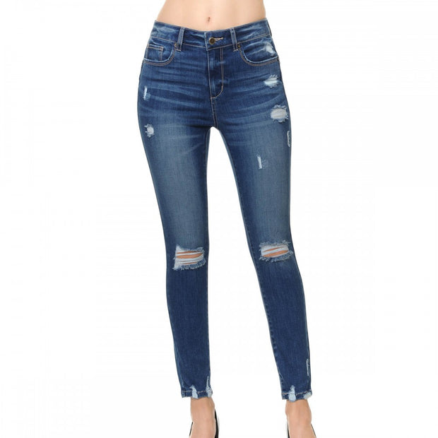 Push Up High-Rise Ankle Skinny Jean with Destructed Hem