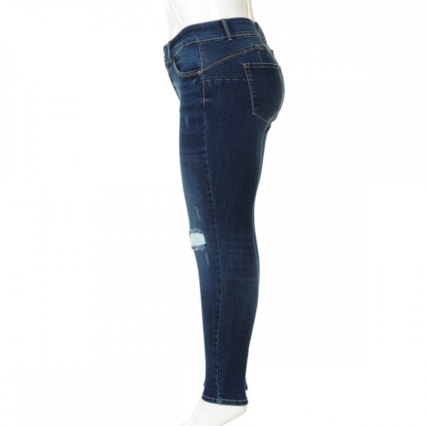 Push Up Multi Button Destructed Skinny Jeans