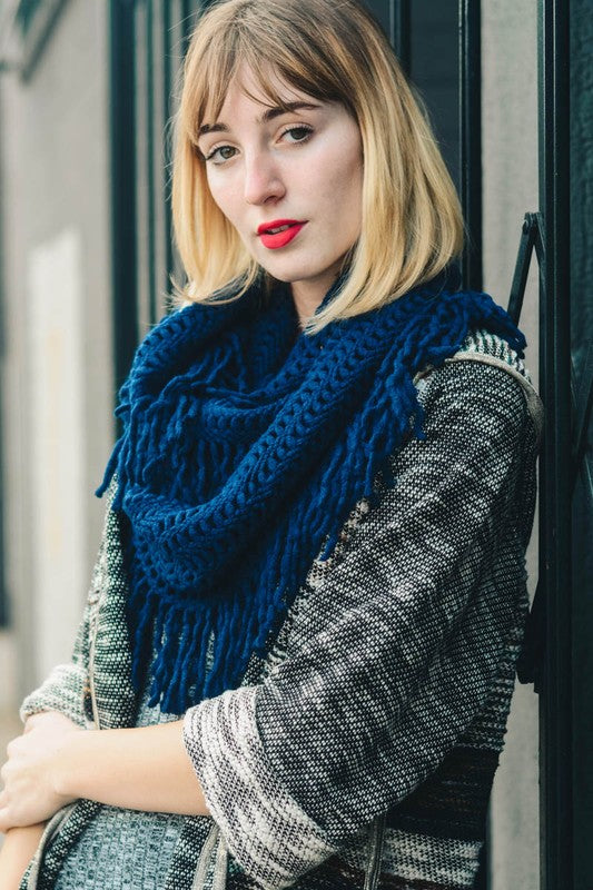 Lattice Knit Tassel Infinity Scarf - Navy