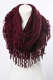 Lattice Knit Tassel Infinity Scarf - Burgundy