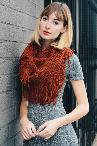 Lattice Knit Tassel Infinity Scarf - Brick
