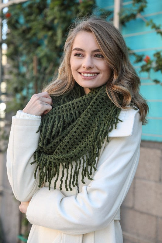 Lattice Knit Tassel Infinity Scarf - Olive
