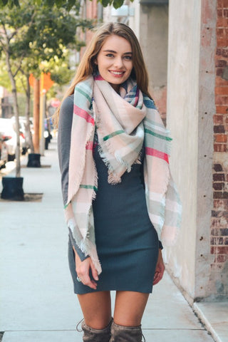Classic Plaid Blanket Scarf - Light Pink