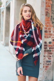 Classic Plaid Blanket Scarf - Red/Navy/White