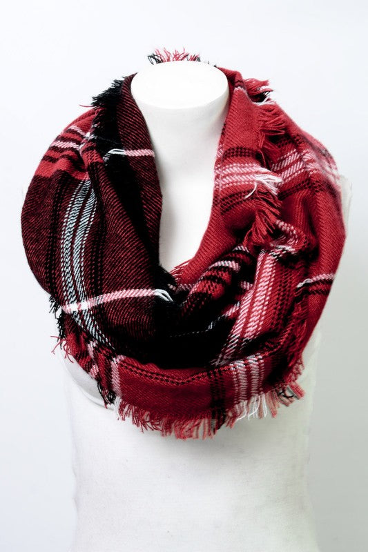 Western Plaid Infinity Scarf - Red