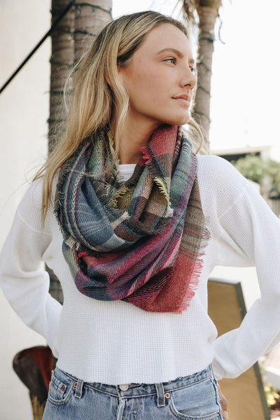 Plaid Frayed Infinity Scarf - Fuchsia