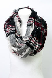 Western Plaid Infinity Scarf - Black