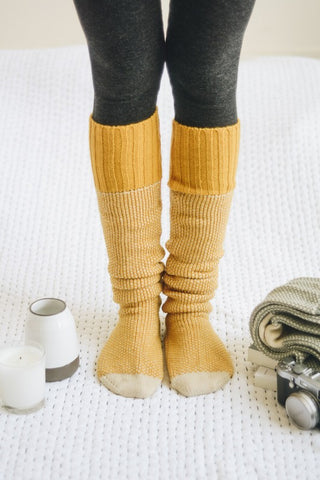 Knitted Lounge Socks - Mustard