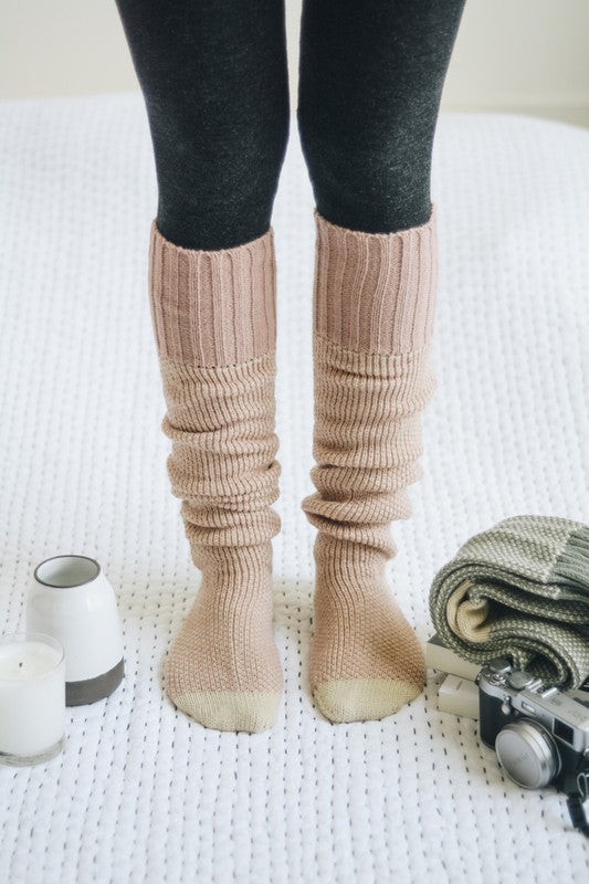 Knitted Lounge Socks - Pink
