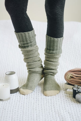 Knitted Lounge Socks - Mint