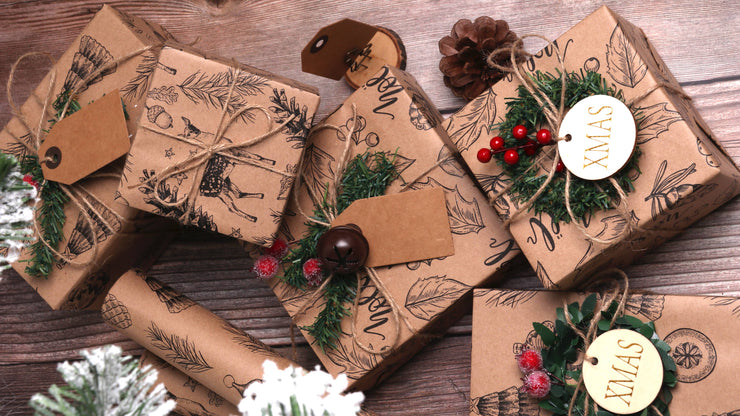 Noel Kraft Natural/Black Wrapping Paper