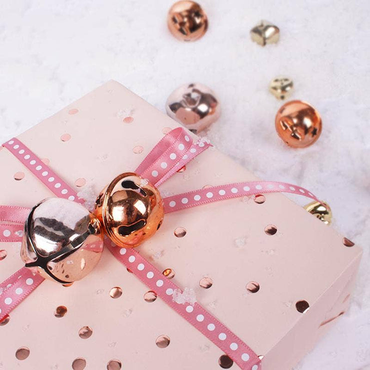 "Rose Gold Foil ""Metallic Dots"" Wrapping Paper Roll"