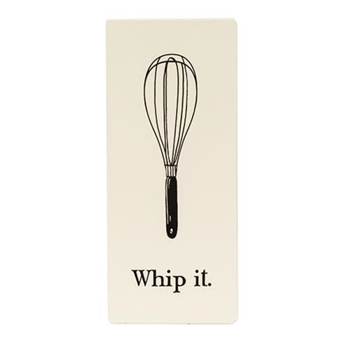 Whip It Whisk Enamel Sign