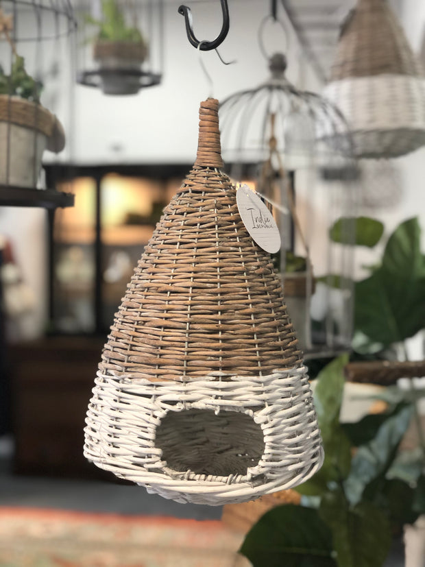 White Dipped Willow Bird House, 14""
