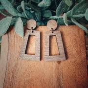Walnut Wood Dangle Stud Earrings