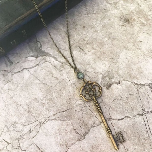 Antique Key Necklace with African Matte Stone Bead