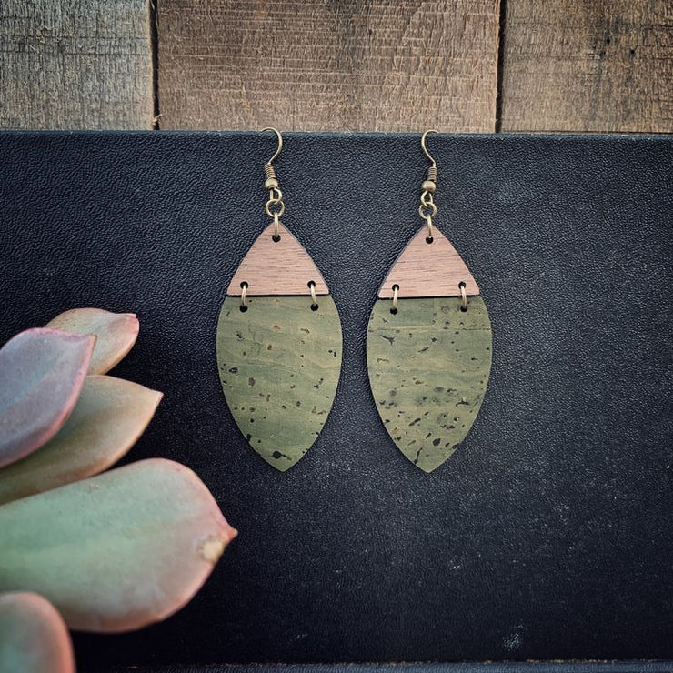 Boho Olive Green Cork & Walnut Wood Earrings