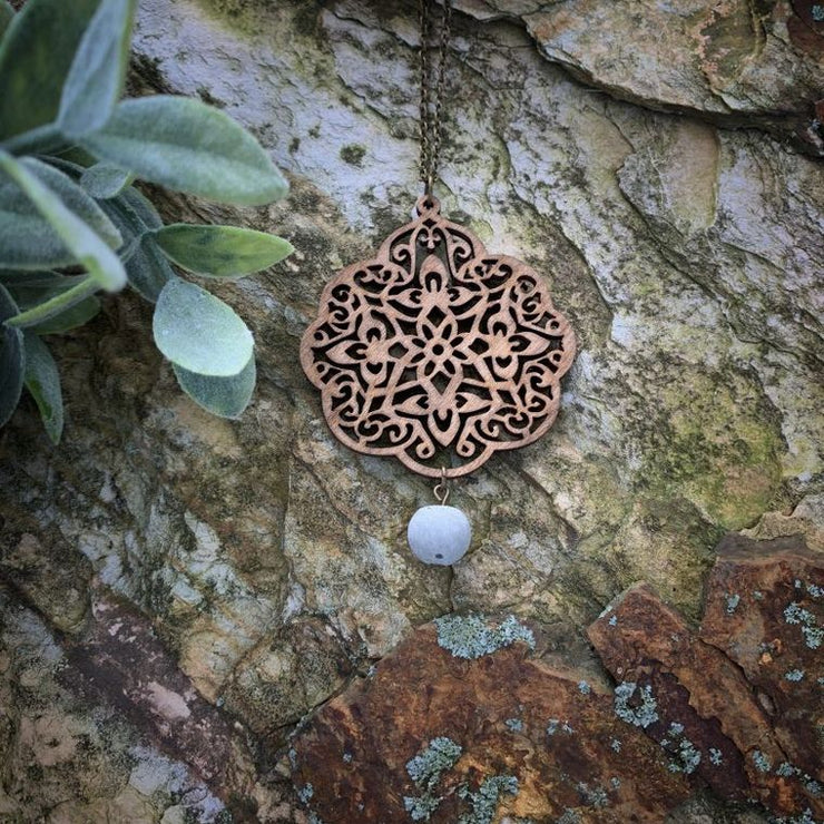 Birch Wood Medallion Pendant with Concrete Bead Necklace