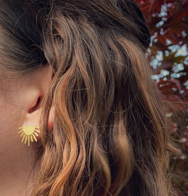 Sunburst Brass Boho Stud Earrings