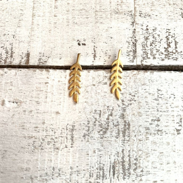 Boho Brass Leaf Crawler Earrings