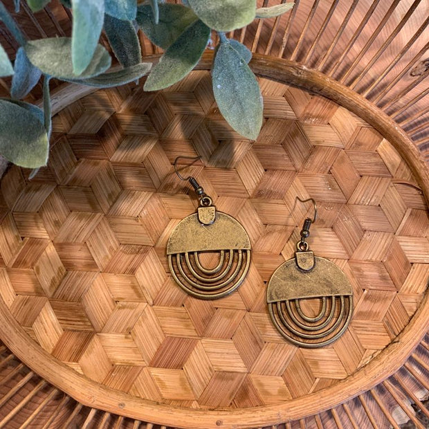 Antique Bronze Bohemian Geometric Rainbow Earrings