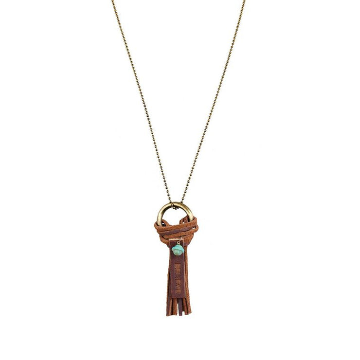 Believe Leather Tassel Necklace
