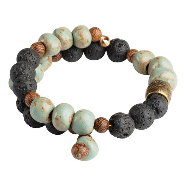 Robin Blue Clay and Lava Bead Diffuser Bracelet