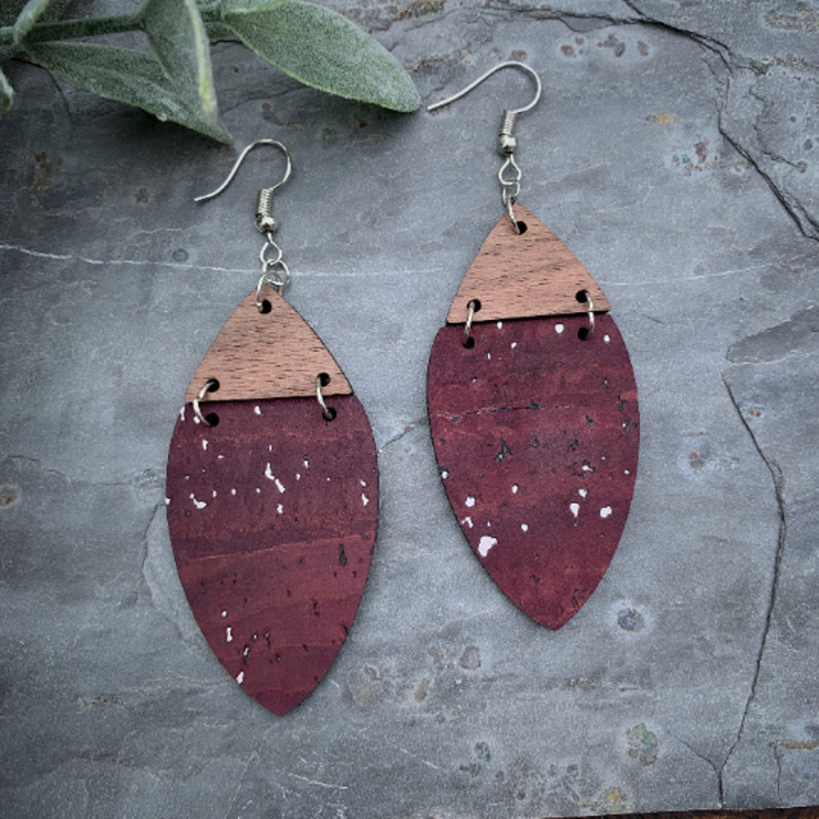 Wine Cork & Walnut Wood Earrings