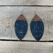 Navy Cork & Walnut Wood Earrings