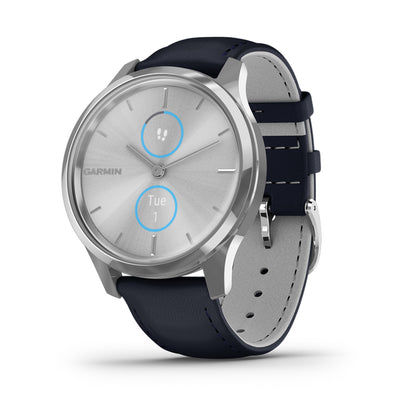 vívomove Luxe Silver with Navy Blue Leather Band