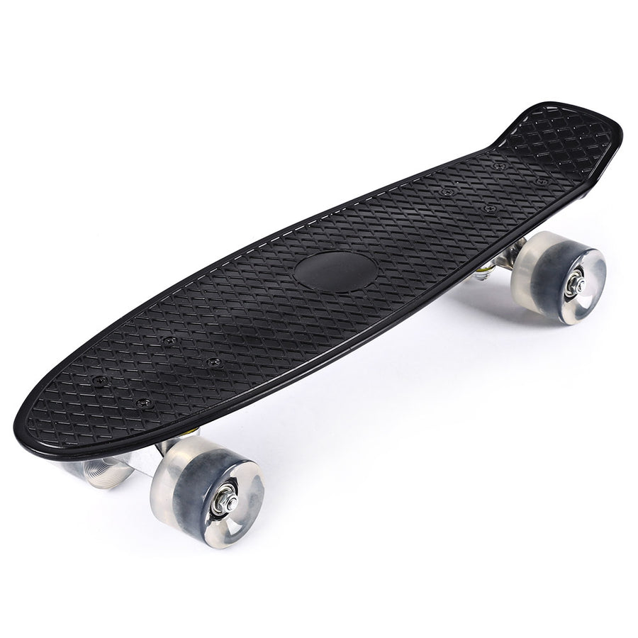 Mini Cruiser Banana Style Longboard Pastel Color Board with LED Flashing Wheels