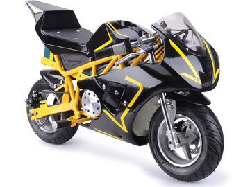 MotoTec 36v 500w Electric Pocket Bike GP Yellow