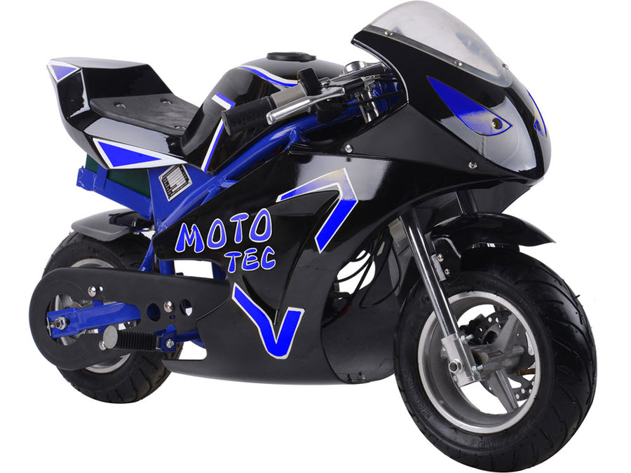 MotoTec 36v 500w Electric Pocket Bike GT Blue