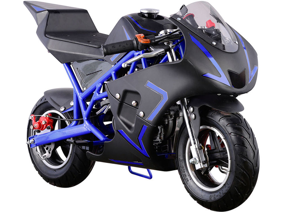 MotoTec Cali Gas Pocket Bike 40cc 4-Stroke Blue