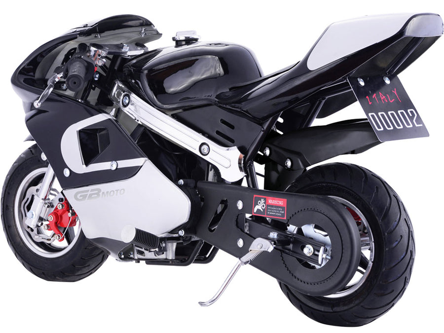 MotoTec GBmoto Gas Pocket Bike 40cc 4-Stroke Black