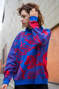 Wool sweater Japan blue red