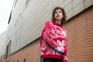 Wool sweater Japan white red