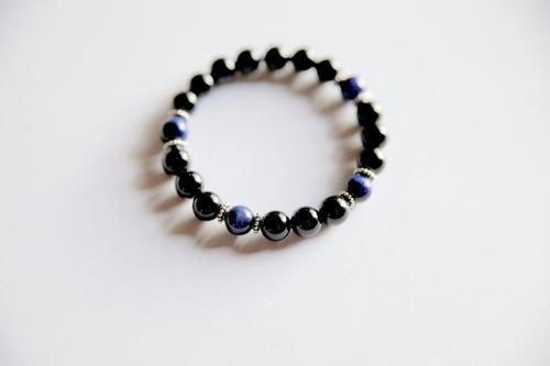 Spocket Jewelry & Watches Genuine Black Onyx & Blue Tiger's Eye Bracelet w/